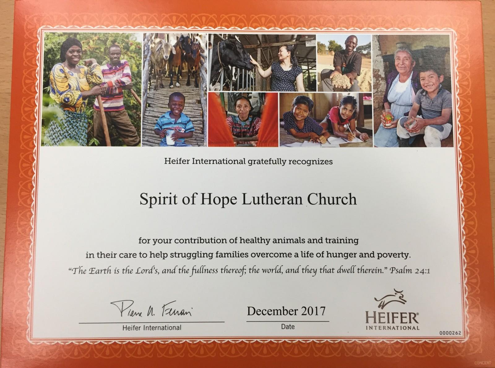 Heifer Certificate